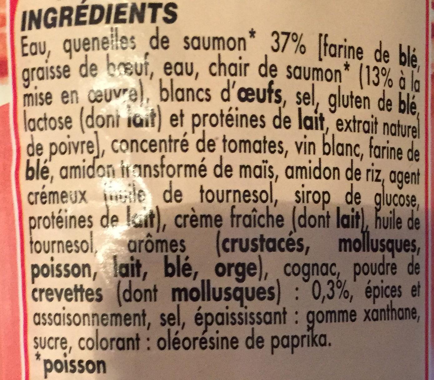 Quenelles de Saumon sauce Saveur Crevette - Ingredients - fr