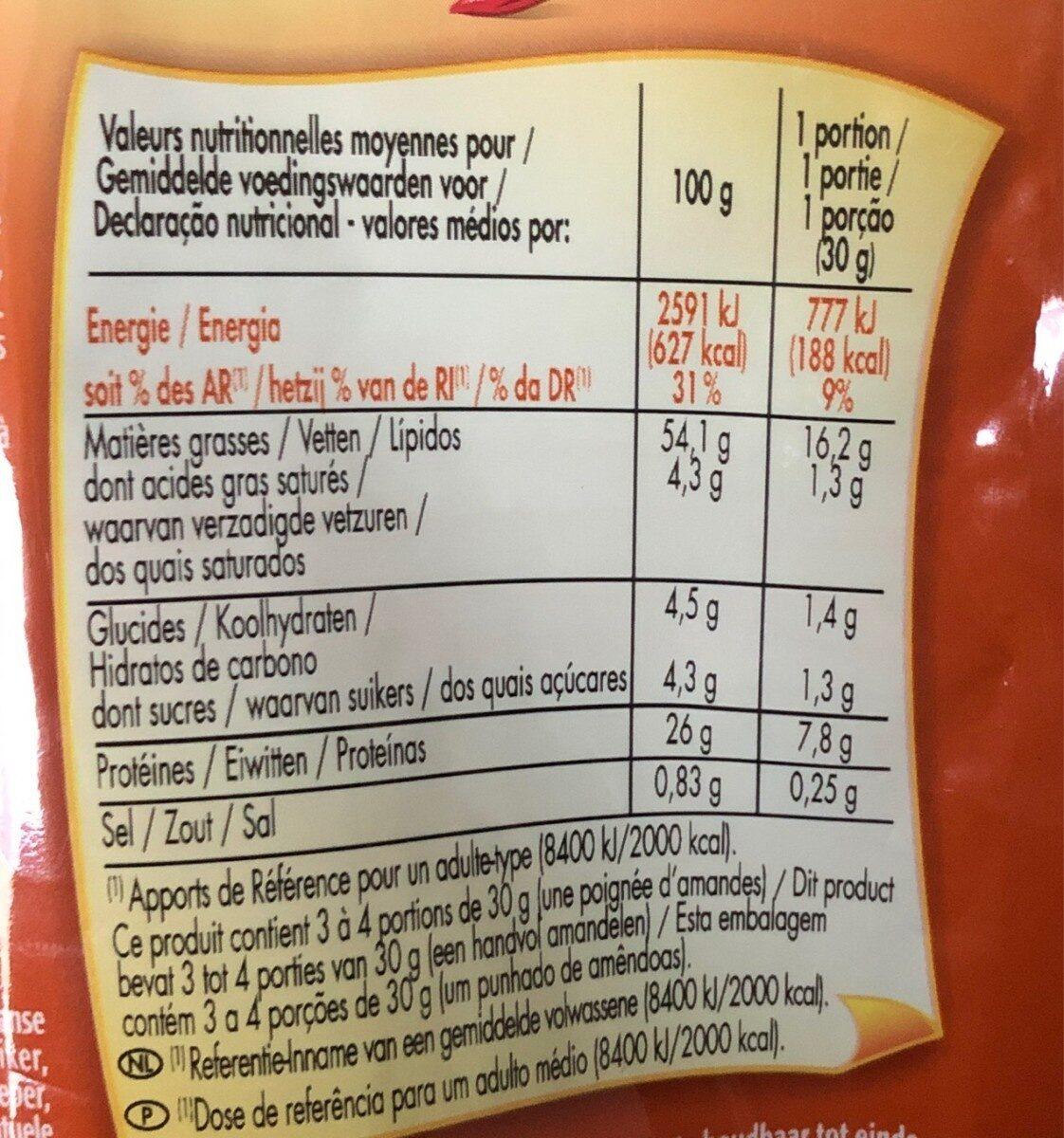 Amandes grillées goût chili le sachet de 100 g - حقائق غذائية - fr