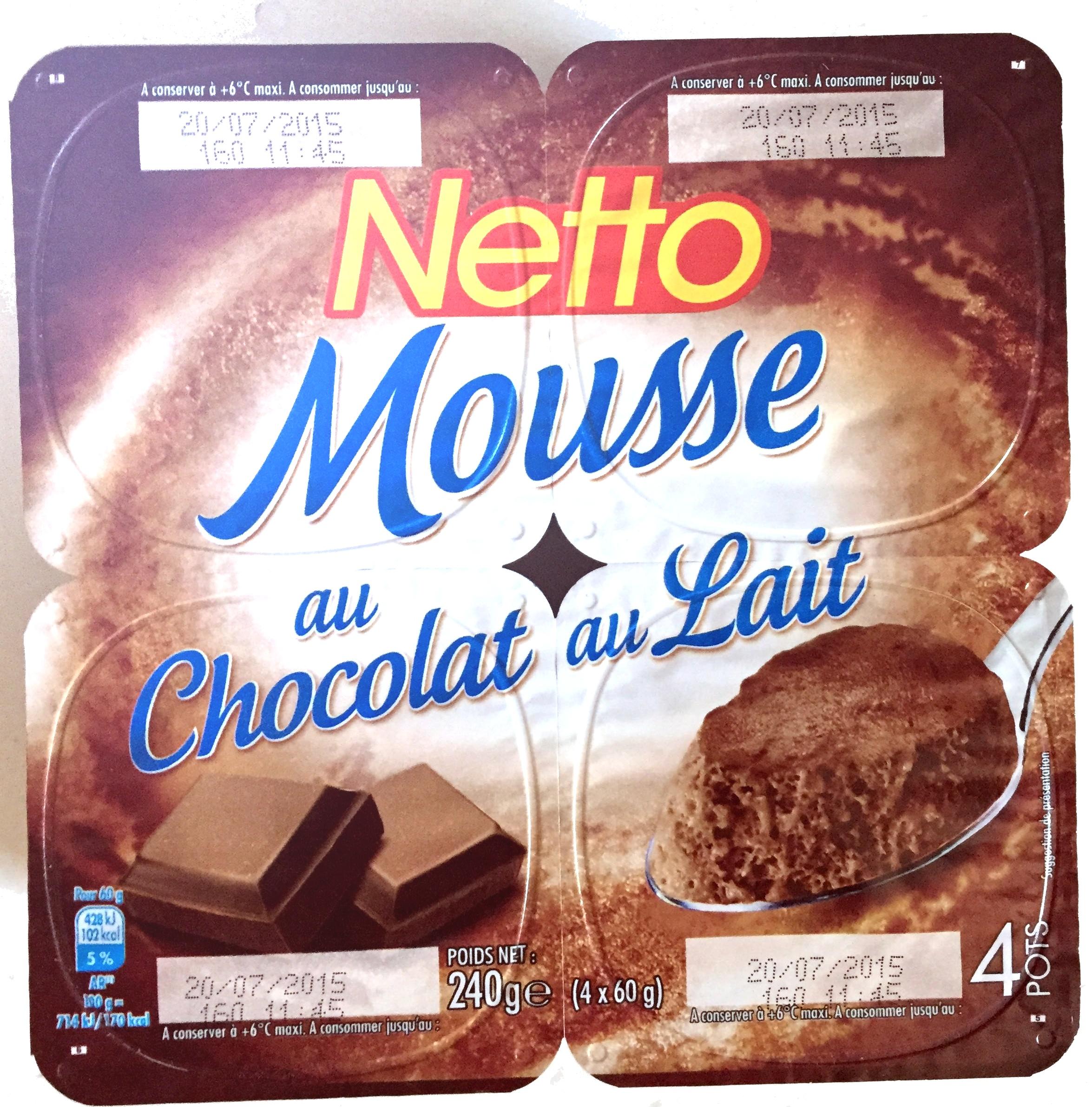 mousse au chocolat au lait netto 4 60 g 240 g. Black Bedroom Furniture Sets. Home Design Ideas