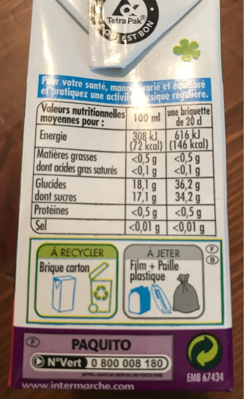 Jus multifruits - Nutrition facts