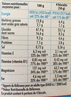 Biscuits petit déjeuner -30% de sucre - Nutrition facts - fr