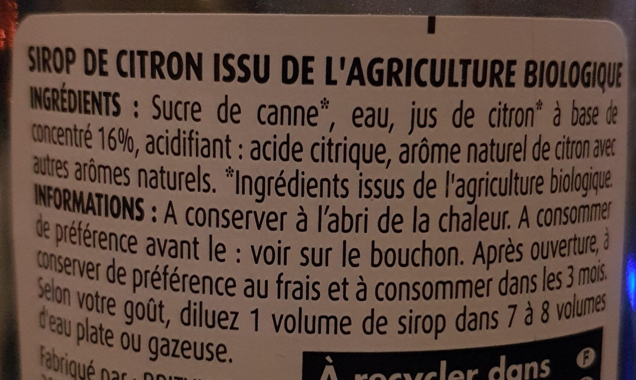 Sirop De Citron - Ingredients