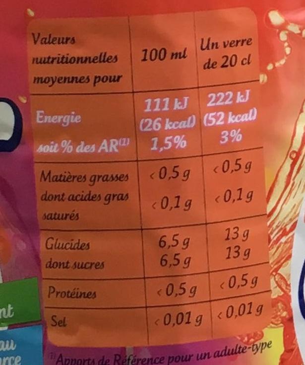 Iced Tea saveur Tropical - Informations nutritionnelles - fr