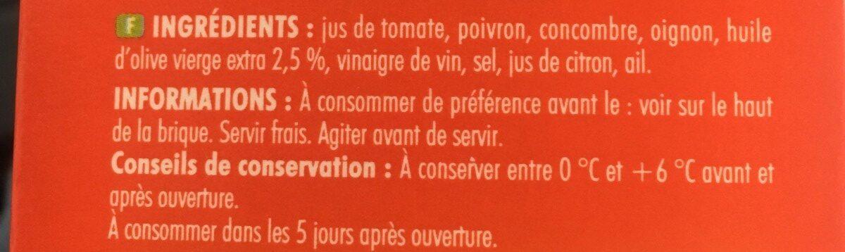 L'essentiel - gazpacho légumes du soleil - Ingredienti - fr