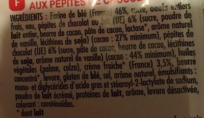 Gâche tranchée aux pépites de chocolat - Ingredients - fr