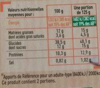 Petit Girasole - Chèvre et Miel - Informations nutritionnelles