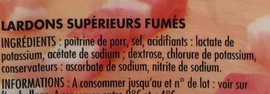 Allumettes de Lardons Fumés (25% de sel en moins) - Ingrédients