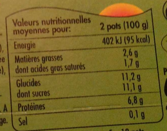 Suiss' Fruits (Abricot, Fraise, Banane, Framboise) - Nutrition facts - fr