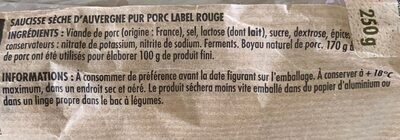 Saucisse Sèche d'auvergne - Ingredients - fr