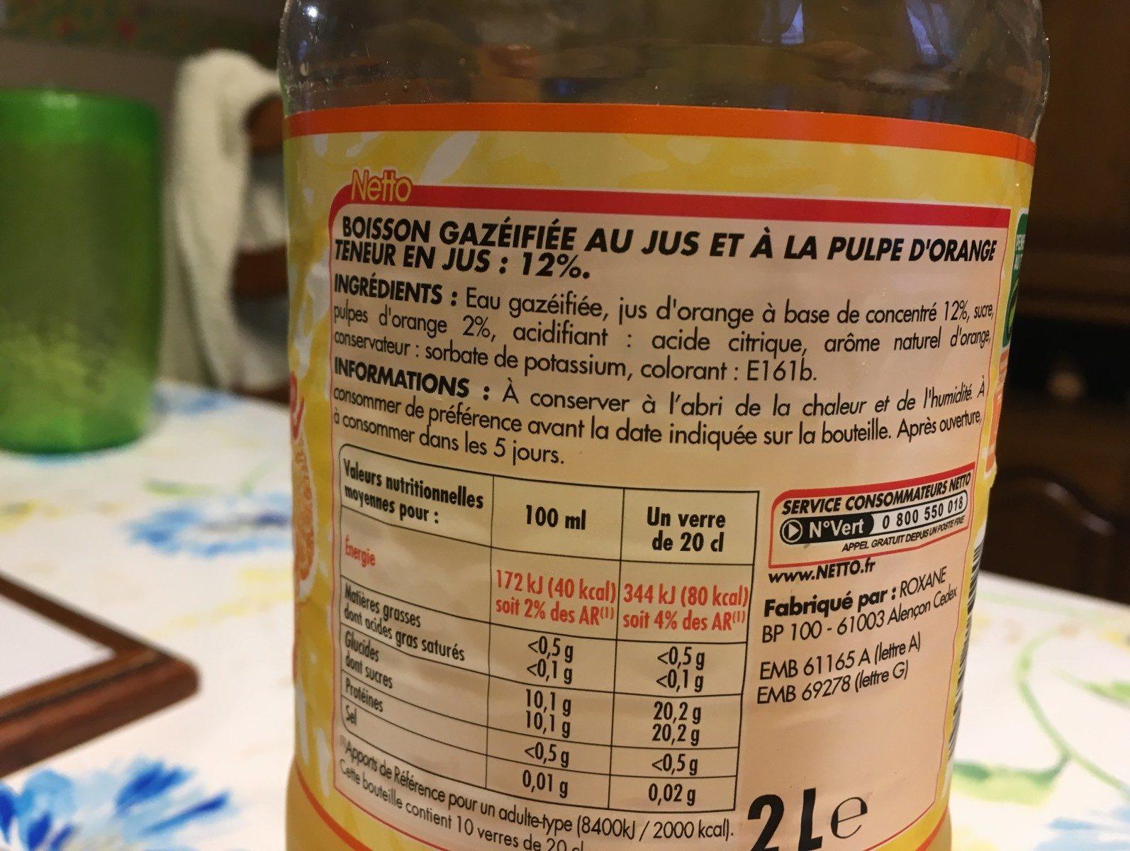 Orange pulpée - Ingredients