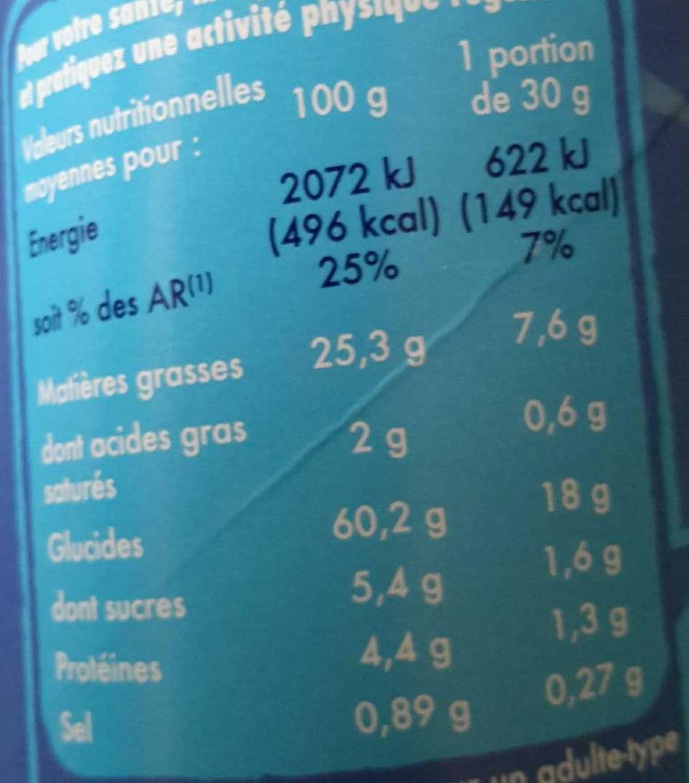 Tuiles saveur burger - Nutrition facts