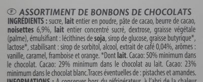 Chocolats Belges - Ingredients