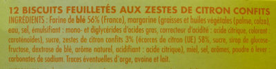 Palmiers feuilletés aux zestes de citron confits - Ingrédients