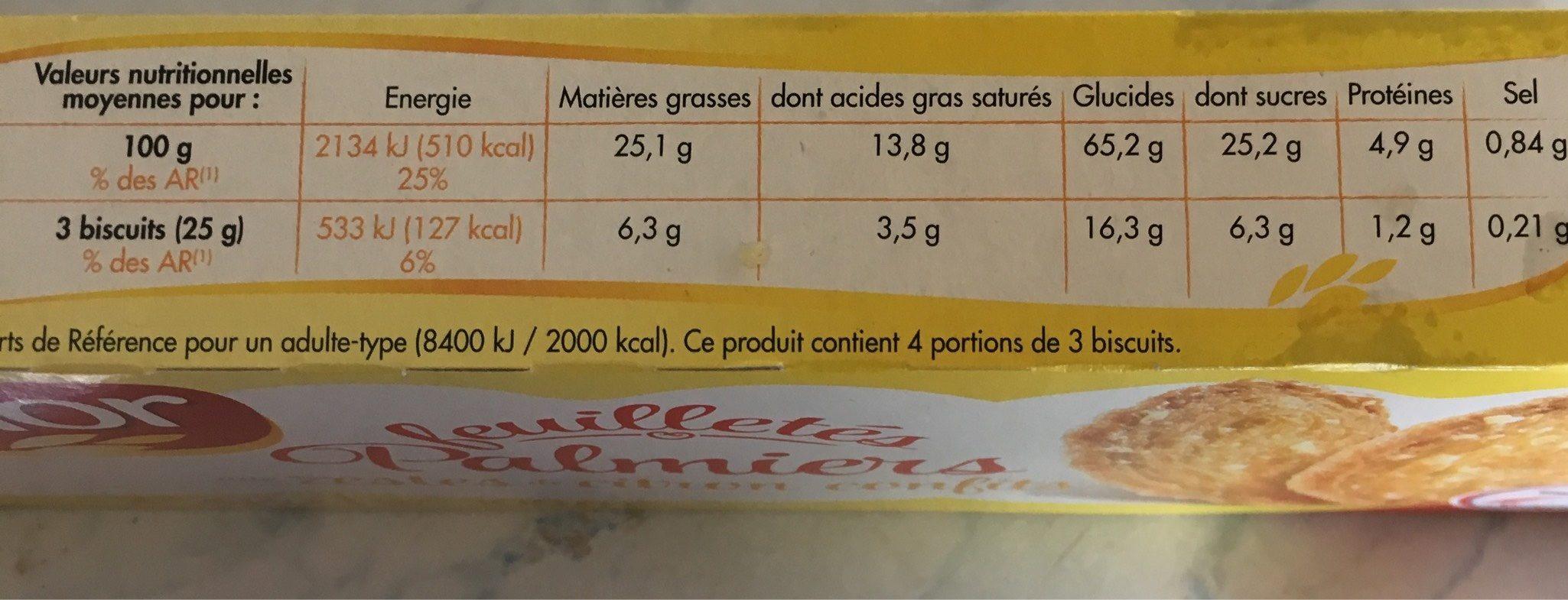 Palmiers feuilletés aux zestes de citron confits - Informations nutritionnelles