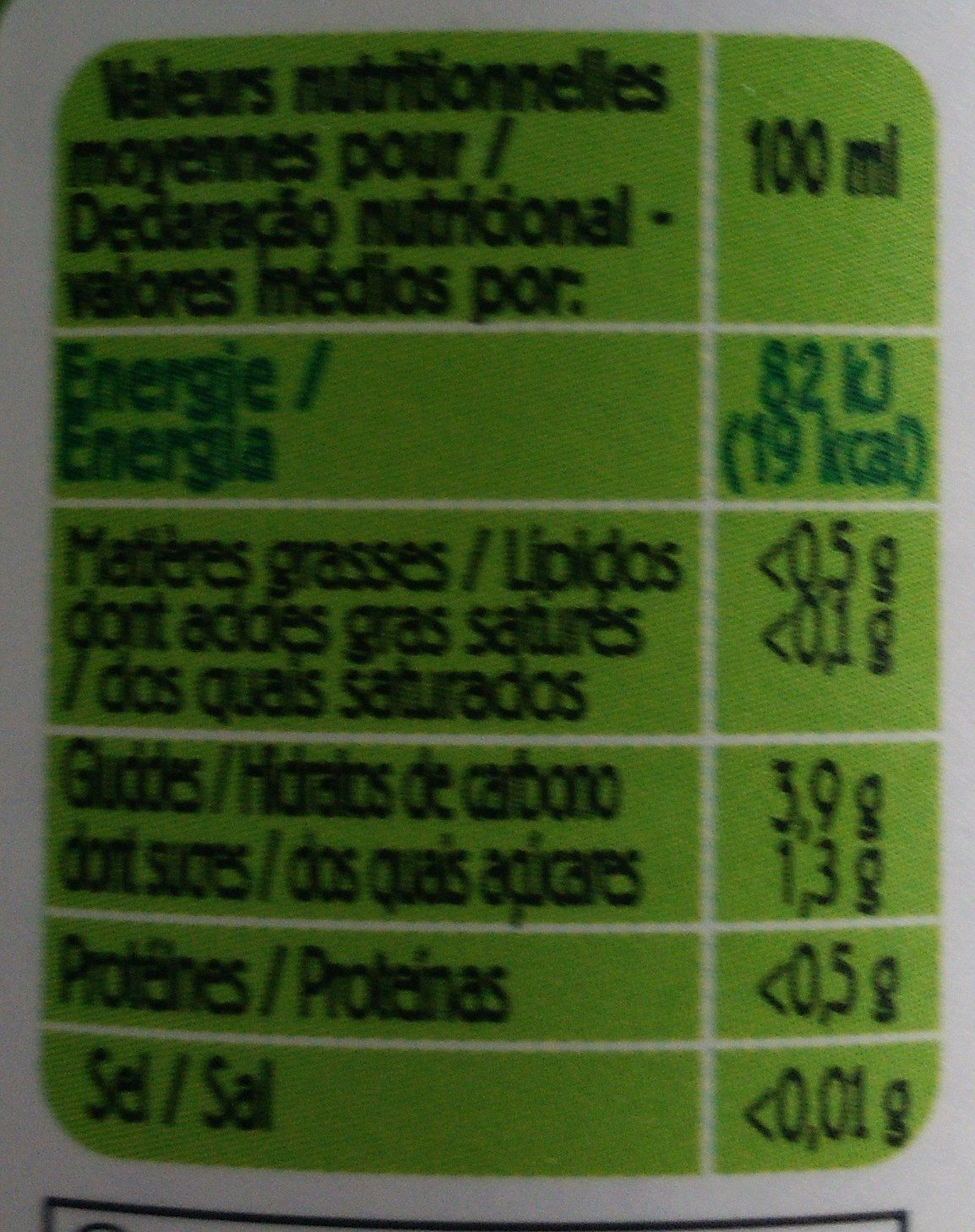 Jus De Citron - Nutrition facts
