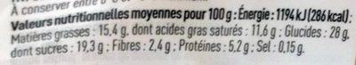 Douceur Vanille à l'extrait de Vanille & morceaux craquants au chocolat noir - Información nutricional
