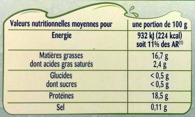 Odyssée Pavés de saumon Atlantique BIO 2 pavés 200 g - Informations nutritionnelles - fr