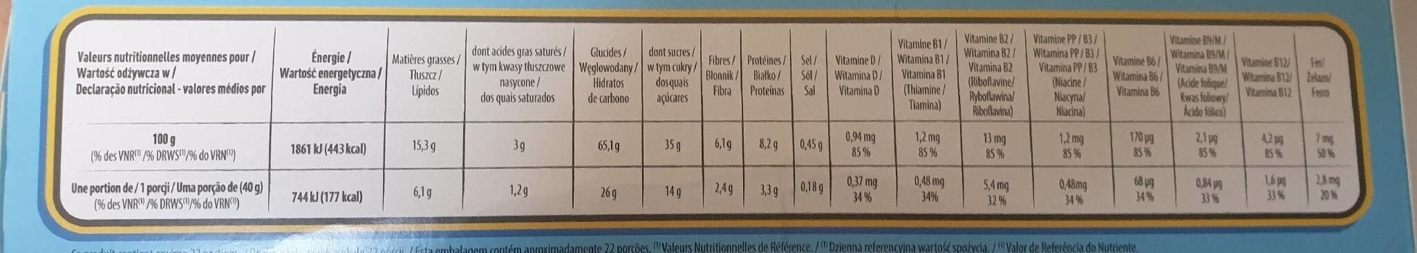 Céréales crica lait - Nutrition facts - fr