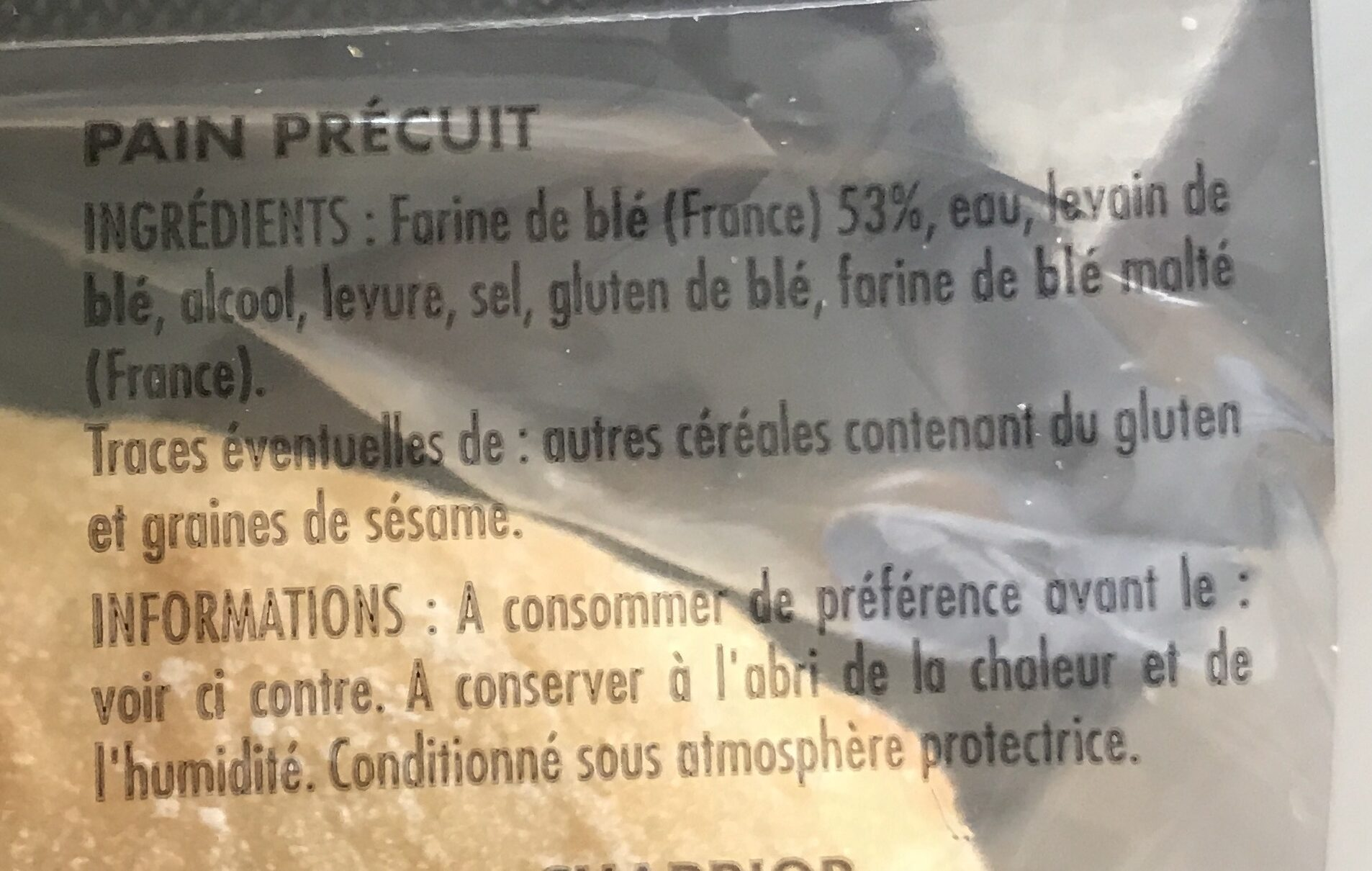 Baguette Précuite Incontournable - Ingrediënten