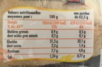 Baguette Précuite Incontournable - Voedingswaarden