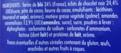 Cookies Maxi Pépites Chocolat - Amandes Caramélisées - Ingrediënten