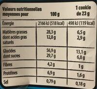 Cookies Maxi Pépites Chocolat - Amandes Caramélisées - Voedingswaarden