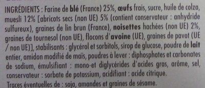 Cake Déj Muesli aux abricots et aux noisettes - Ingredients - fr