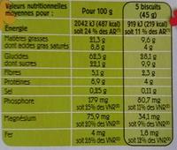 Biscuits aux céréales (25 % de Chocolat Noir) - Informations nutritionnelles - fr