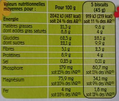 Biscuits aux céréales (25 % de Chocolat Noir) - Nutrition facts - fr
