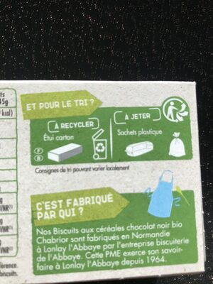 Biscuits aux céréales (25 % de Chocolat Noir) - Recycling instructions and/or packaging information - fr