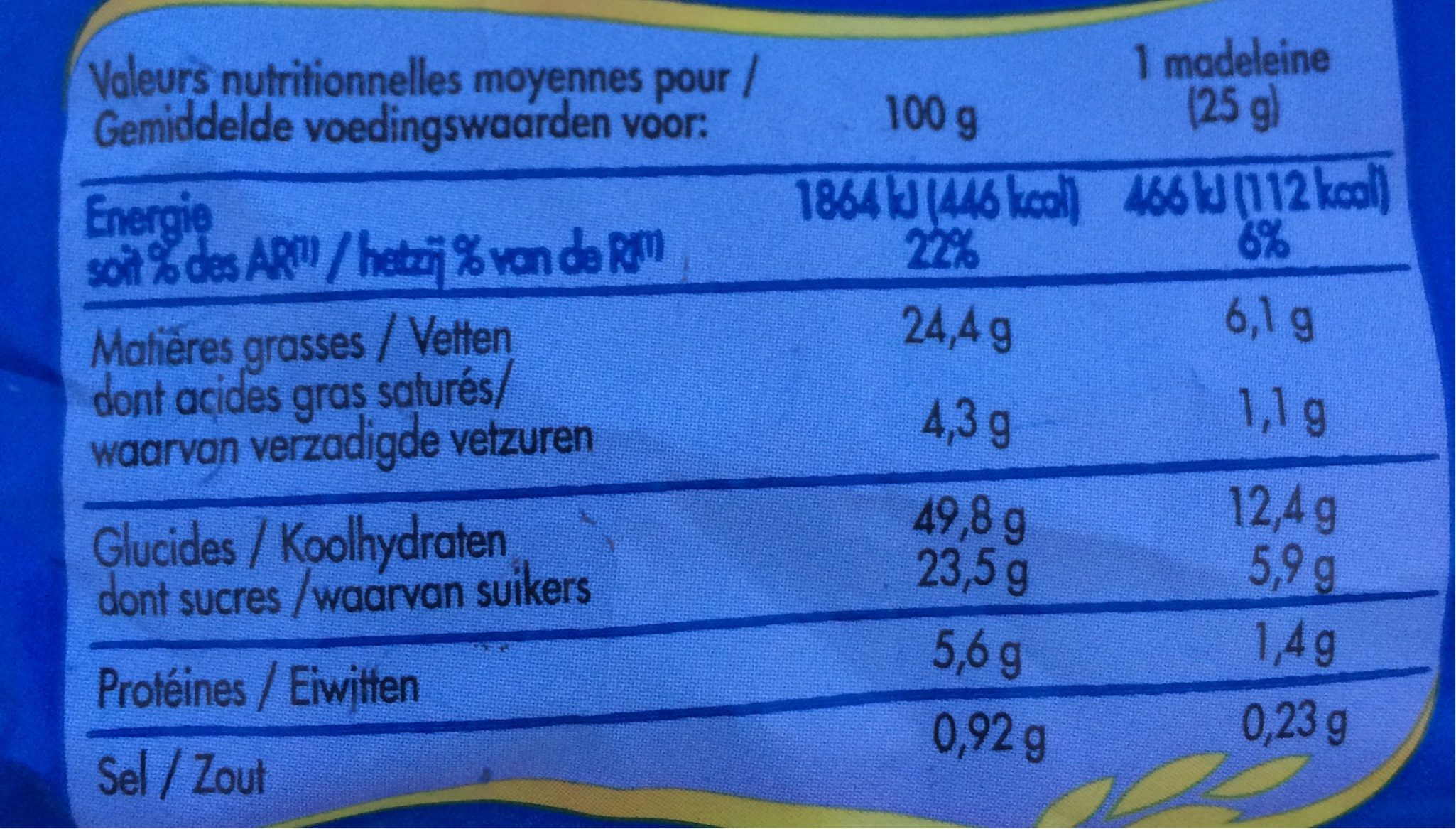 Madeleines aux pépites de chocolat le paquet de 16 400 g - Nutrition facts