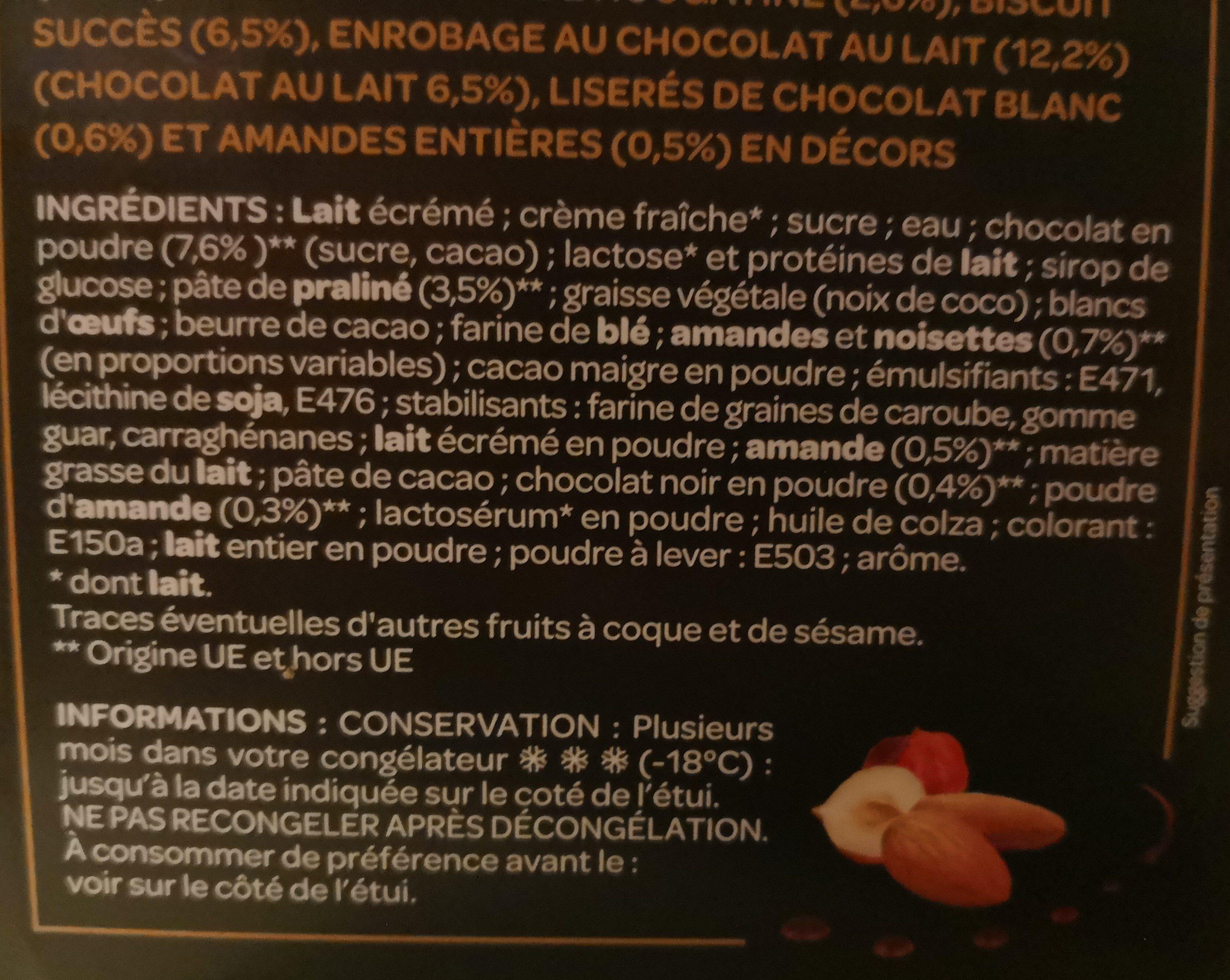 L'intense  Bûche chocolat praliné  8 parts - Ingredients