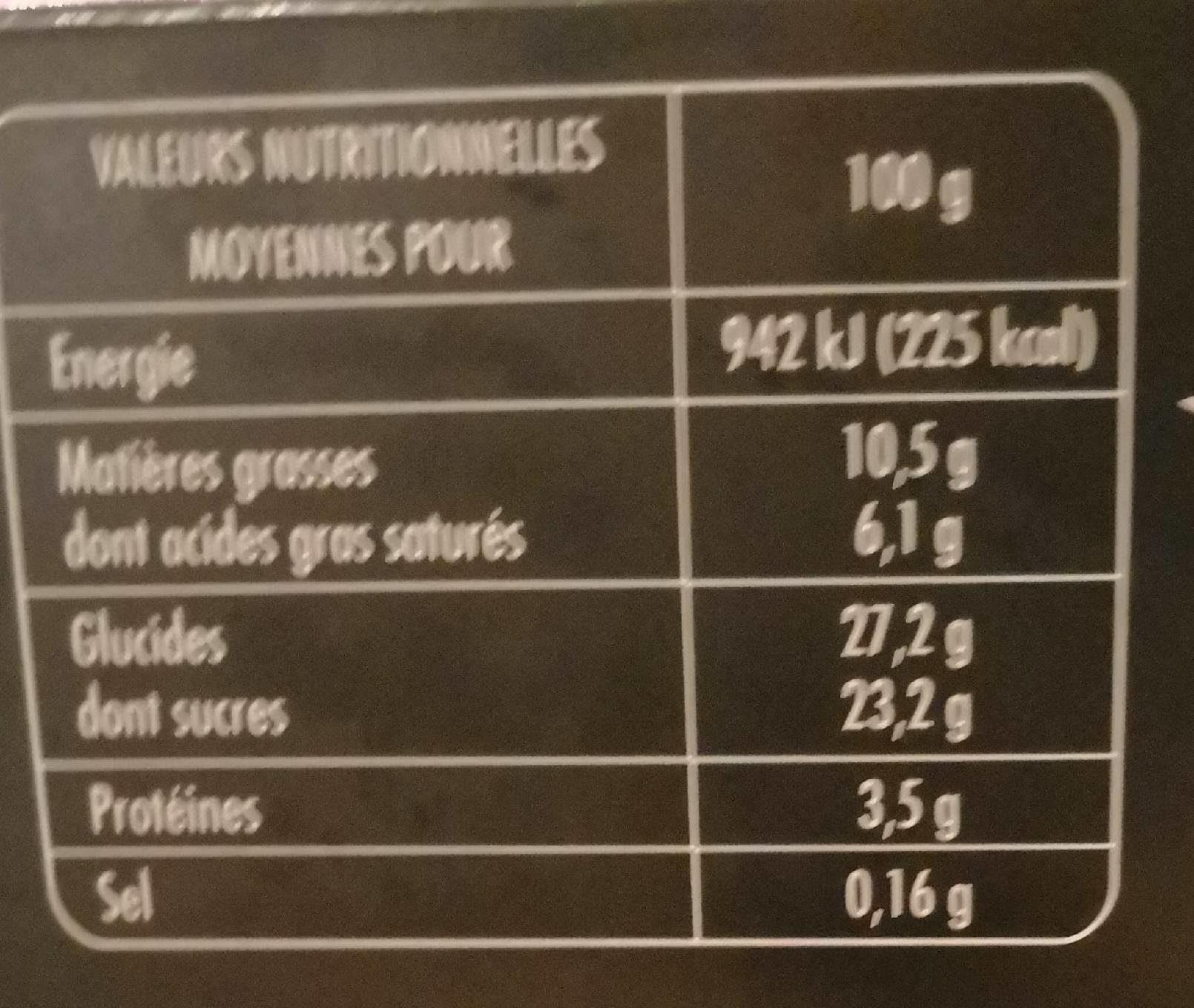 L'intense  Bûche chocolat praliné  8 parts - Nutrition facts