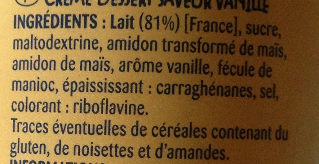 Crème dessert saveur vanille 510 g - Ingrédients - fr
