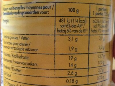 Crème dessert saveur vanille 510 g - Informations nutritionnelles - fr