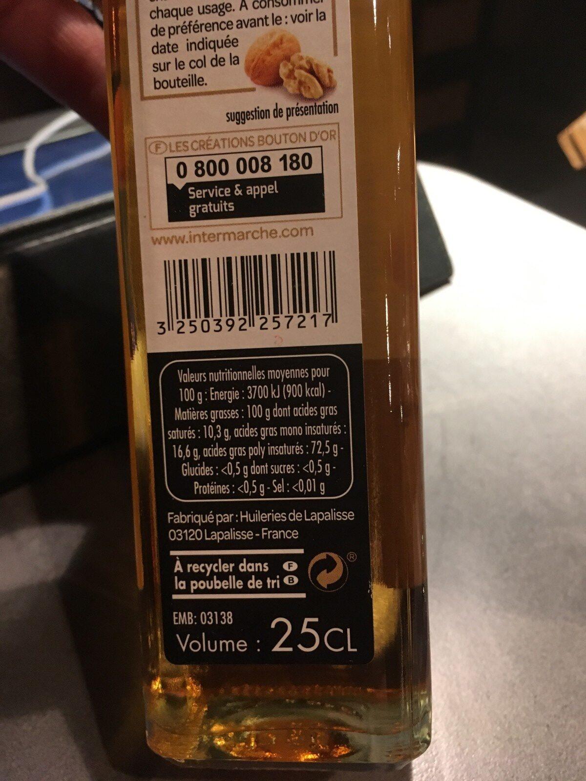 Les Créations L'Inestimable huile de noix la bouteille de 25 - Ingrédients - fr