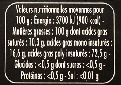 Les Créations L'Inestimable huile de noix la bouteille de 25 - Informations nutritionnelles - fr
