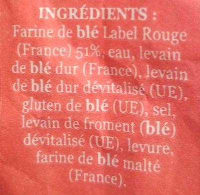 La Fournée Campanière - Label Rouge - Baguette à base de farine - Ingredienti - fr