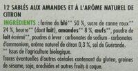 Sablés amande arôme naturel de citron bio - Ingrédients - fr