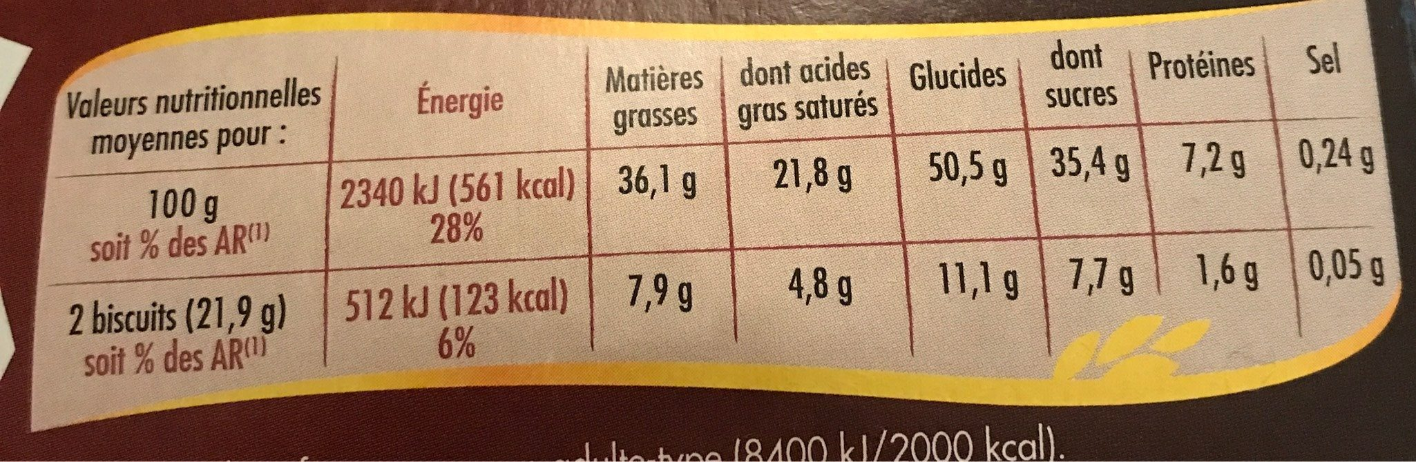 Crousti'Tab - Nutrition facts