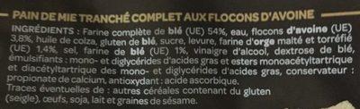 Pain Complet Aux Flocons D'avoine - Ingredients