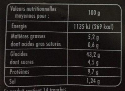 Pain Complet Aux Flocons D'avoine - Nutrition facts