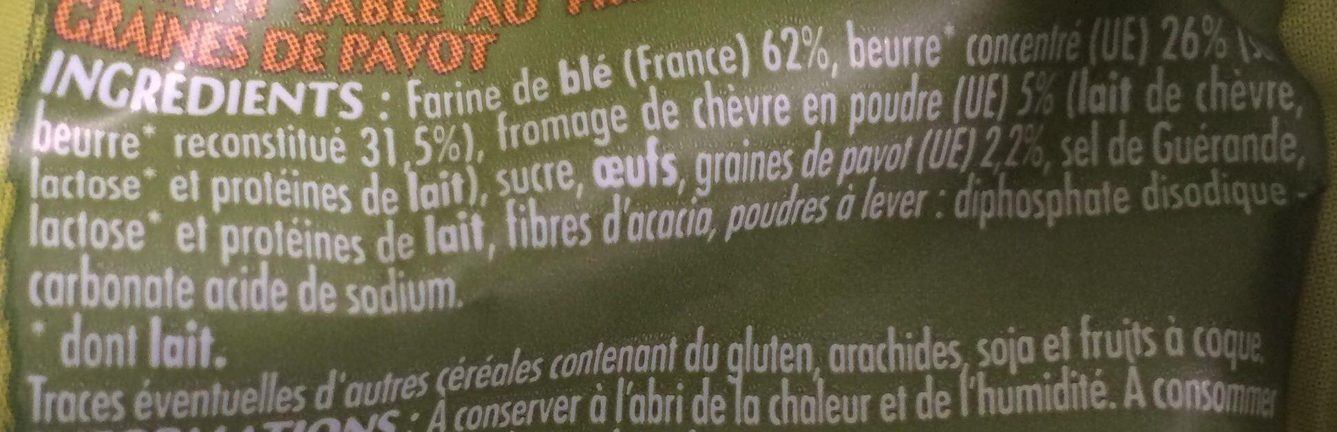 Les petits sablés au beurre Chèvre et Pavot - Ingrediënten - fr