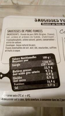 Jean Rozé Saucisses fumées la barquette de 400 Gr - Informations nutritionnelles