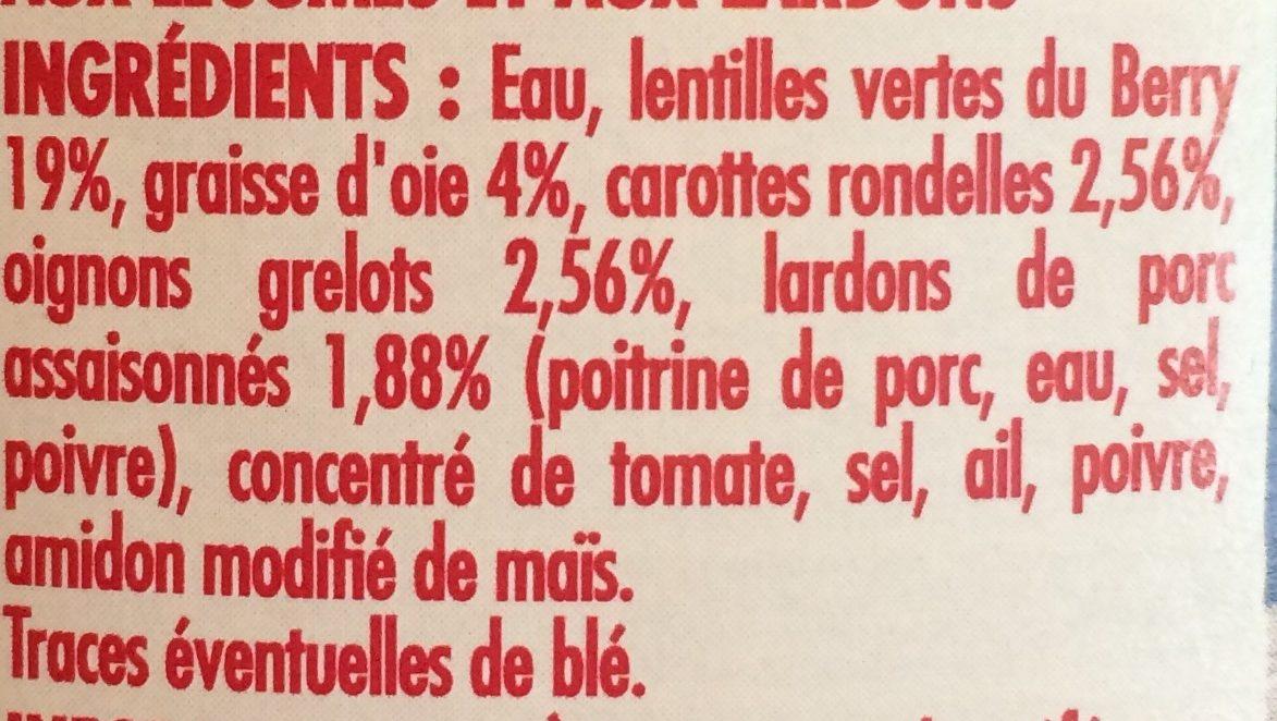 Lentilles vertes du Berry cuisinées à la graisse d'oie - Ingredients - fr