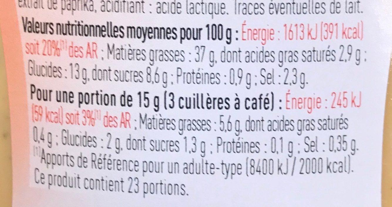 Sauce Américaine - Nutrition facts
