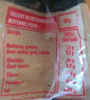 Haticots lingots du nord - Informations nutritionnelles