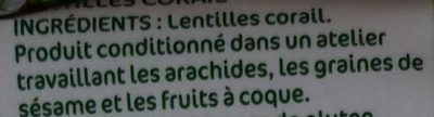 Lentilles corail - Ingredients