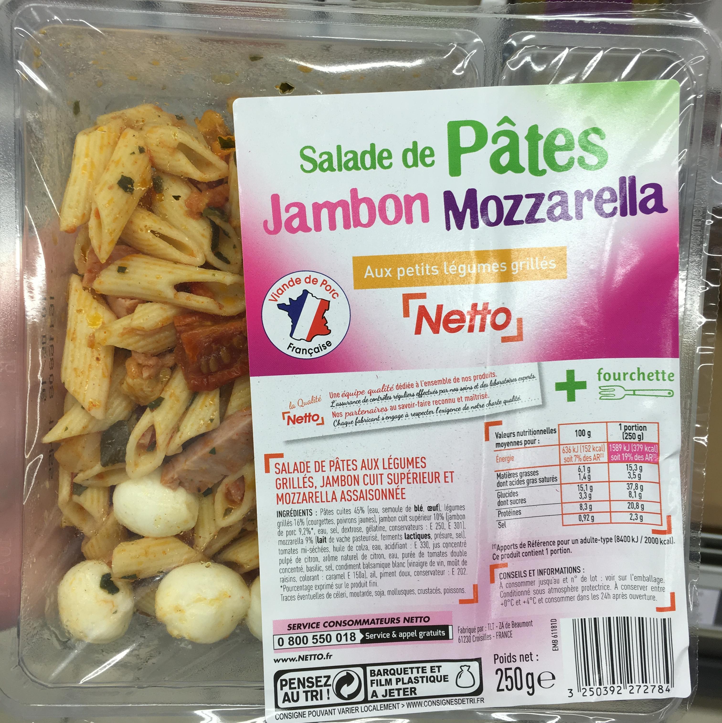 Salade de p tes jambon mozzarella aux petits l gumes grill s netto 250 g - Salade de pates jambon ...