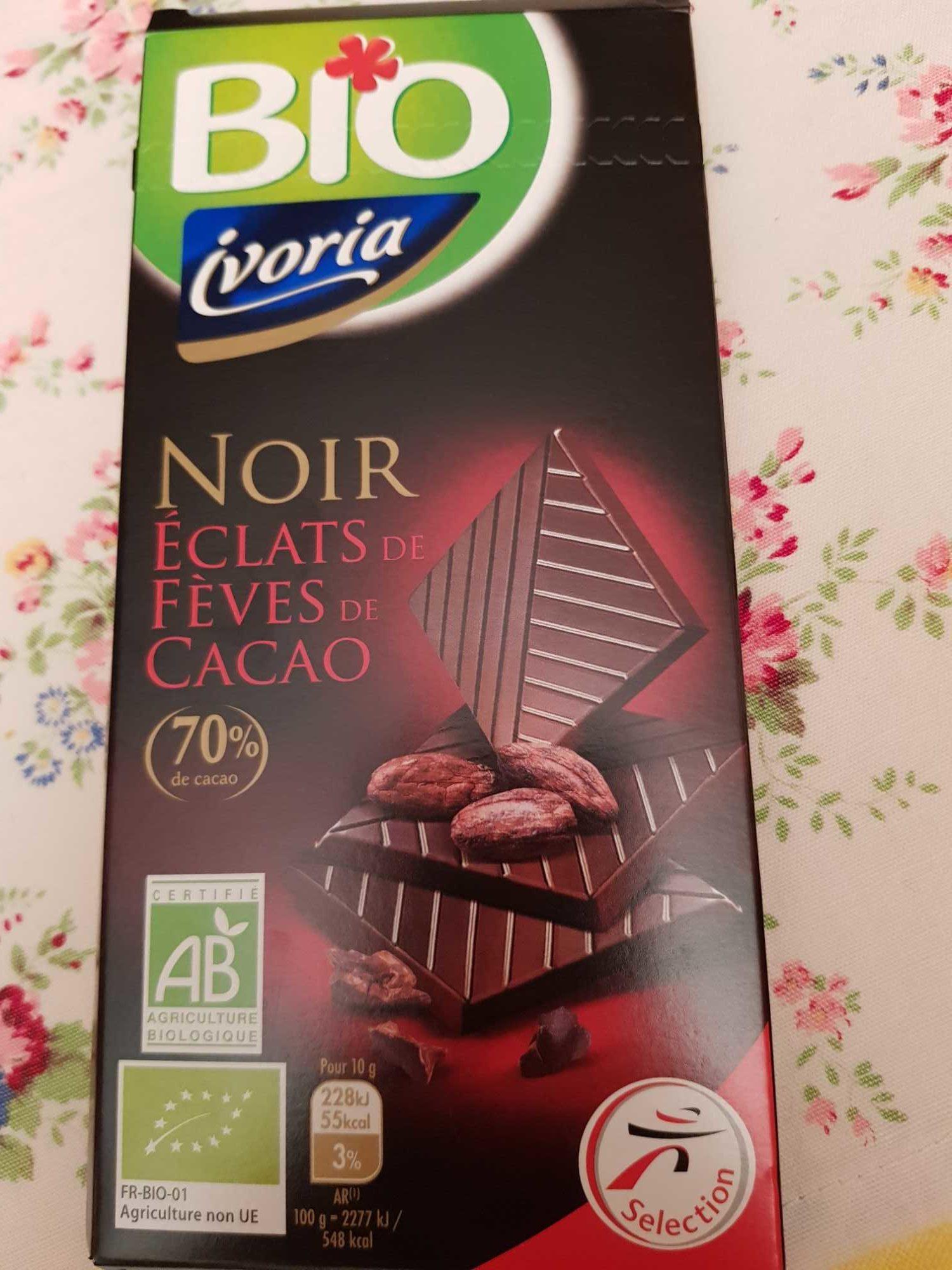 Ivoria Chocolat noir éclats de fèves de cacao BIO 100 g net - Product